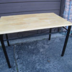 Metal/Solid Wood Dining Table